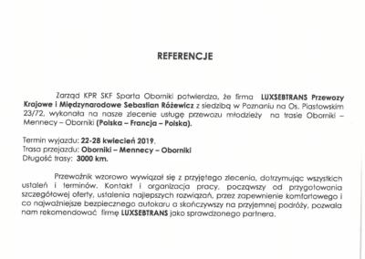 Referencje SPARTA Oborniki -1